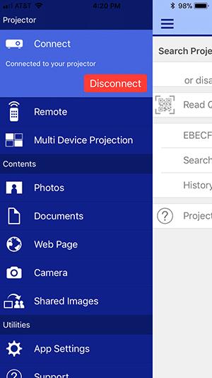 เมนู app iprojection projector epson